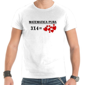 Camiseta de manga corta con diseño matematica puro 3x4 igual a corazones