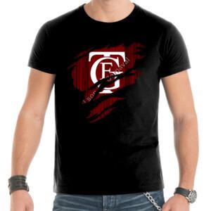 Camiseta negra manga corta de hombre con el Logo GTF Saliendo del Pecho