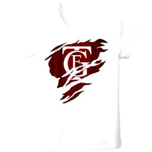 Camiseta blanca de manga corta con el Logo GTF Saliendo del pecho - Tallas grandes