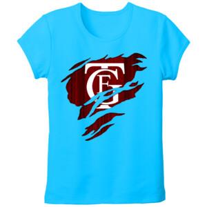 Camiseta turquesa de manga corta con el Logo GTF Saliendo del pecho - Tallas grandes