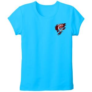 Camiseta turquesa de manga corta con el Logo GTF Saliendo del corazón - Tallas grandes