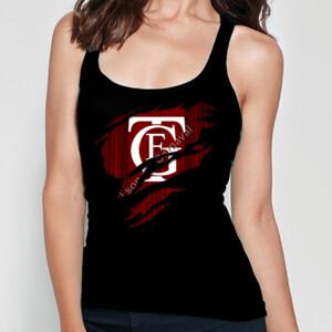 Camiseta negra de tirantes corta con el Logo GTF Saliendo del pecho