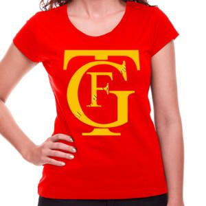 Camiseta manga corta mujer con diseño logo teatro Falla amarillo