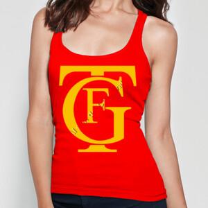 Camiseta de tirantes y diseño logo teatro Falla amarillo