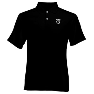 Polo color negro con logo del gran teatro Falla color blanco